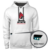 Contemporary Sofspun White Hoodie-Ball State Cardinals Stacked