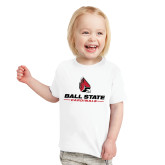 Toddler White T Shirt-Cardinal Head Ball State Cardinals