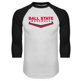 White/Black Raglan Baseball T Shirt-Ball State Baseball