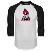 White/Black Raglan Baseball T Shirt-Cardinal Head Ball State Cardinals Vertical