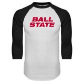 White/Black Raglan Baseball T Shirt-Ball State Wordmark Vertical