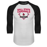 White/Black Raglan Baseball T Shirt-Ball State Cardinals Baseball