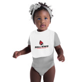 White Baby Bib-Cardinal Head Ball State Cardinals