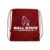 Nylon Cardinal Drawstring Backpack-Ball State Cardinals w/ Cardinal