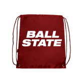 Nylon Cardinal Drawstring Backpack-Ball State Stacked