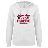 ENZA Ladies White V Notch Raw Edge Fleece Hoodie-2020 Arizona Bowl Champions