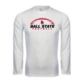 Performance White Longsleeve Shirt-Ball State Football Horizontal