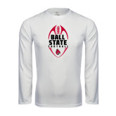 Syntrel Performance White Longsleeve Shirt-Ball State Football Vertical