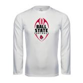 Performance White Longsleeve Shirt-Ball State Football Vertical