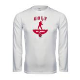 Performance White Longsleeve Shirt-Golf Stacked
