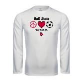 Performance White Longsleeve Shirt-Soccer Just Kick It