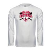 Performance White Longsleeve Shirt-Softball Bats and Plate