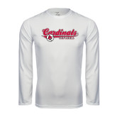Performance White Longsleeve Shirt-Softball Script