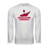 Performance White Longsleeve Shirt-Track & Field Side