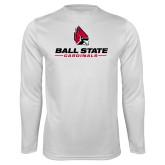Performance White Longsleeve Shirt-Cardinal Head Ball State Cardinals