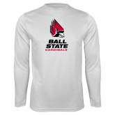 Performance White Longsleeve Shirt-Cardinal Head Ball State Cardinals Vertical