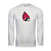 Performance White Longsleeve Shirt-Cardinal