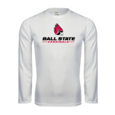 Performance White Longsleeve Shirt-Ball State Cardinals w/ Cardinal