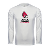 Performance White Longsleeve Shirt-Ball State Cardinals Stacked