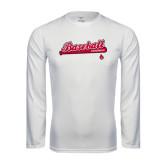 Performance White Longsleeve Shirt-Script Baseball