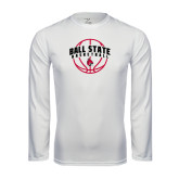 Performance White Longsleeve Shirt-Basketball Arched w/ Ball