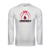 Syntrel Performance White Longsleeve Shirt-Cardinals Basketball Stacked