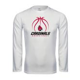 Performance White Longsleeve Shirt-Cardinals Basketball Stacked