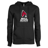 ENZA Ladies Black Fleece Full Zip Hoodie-Cardinal Head Ball State Cardinals Vertical