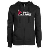 ENZA Ladies Black Fleece Full Zip Hoodie-Ball State Soccer
