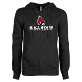 ENZA Ladies Black Fleece Full Zip Hoodie-Cardinal Head Ball State Cardinals