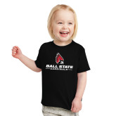 Toddler Black T Shirt-Cardinal Head Ball State Cardinals