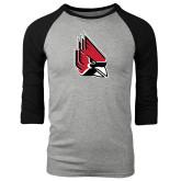 Grey/Black Tri Blend Baseball Raglan-Cardinal