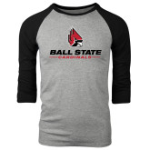 Grey/Black Tri Blend Baseball Raglan-Ball State Cardinals w/ Cardinal