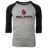 Grey/Black Tri Blend Baseball Raglan-Ball State Cardinals w/ Cardinal