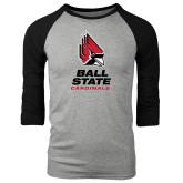 Grey/Black Tri Blend Baseball Raglan-Ball State Cardinals Stacked