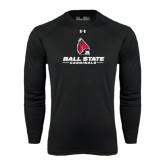 Under Armour Black Long Sleeve Tech Tee-Ball State Cardinals w/ Cardinal