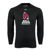 Under Armour Black Long Sleeve Tech Tee-Ball State Cardinals Stacked