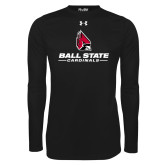 Under Armour Black Long Sleeve Tech Tee-Cardinal Head Ball State Cardinals