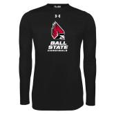 Under Armour Black Long Sleeve Tech Tee-Cardinal Head Ball State Cardinals Vertical
