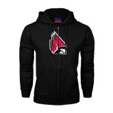 Black Fleece Full Zip Hood-Cardinal