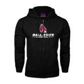 Black Fleece Full Zip Hoodie-Ball State Cardinals w/ Cardinal