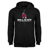 Black Fleece Full Zip Hoodie-Cardinal Head Ball State Cardinals