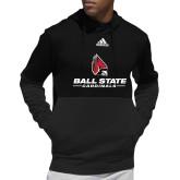 Adidas Black Team Issue Hoodie-Cardinal Head Ball State Cardinals