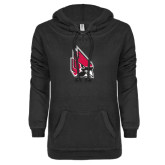 ENZA Ladies Black V-Notch Raw Edge Fleece Hoodie-Cardinal