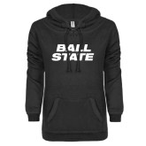 ENZA Ladies Black V-Notch Raw Edge Fleece Hoodie-Ball State Stacked