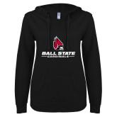 ENZA Ladies Black V Notch Raw Edge Fleece Hoodie-Cardinal Head Ball State Cardinals