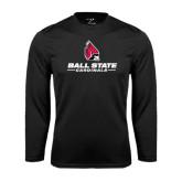 Performance Black Longsleeve Shirt-Ball State Cardinals w/ Cardinal