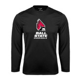 Syntrel Performance Black Longsleeve Shirt-Ball State Cardinals Stacked