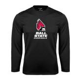 Performance Black Longsleeve Shirt-Ball State Cardinals Stacked