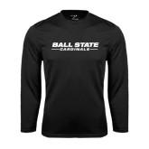 Performance Black Longsleeve Shirt-Ball State Cardinals